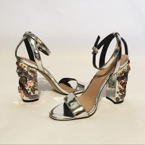 Aldo silver Sandal with Sequence, Rhinestone Heel